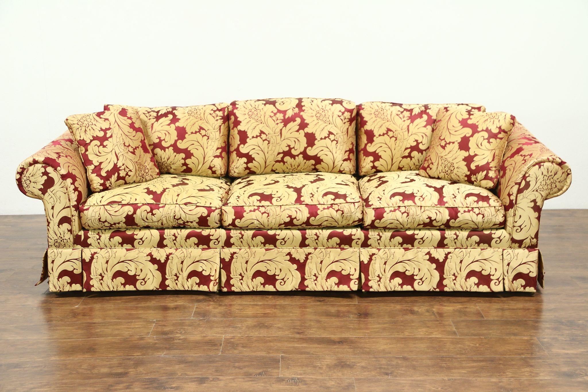 Scalamandre Upholstered Vintage Down Cushion Sofa 28751