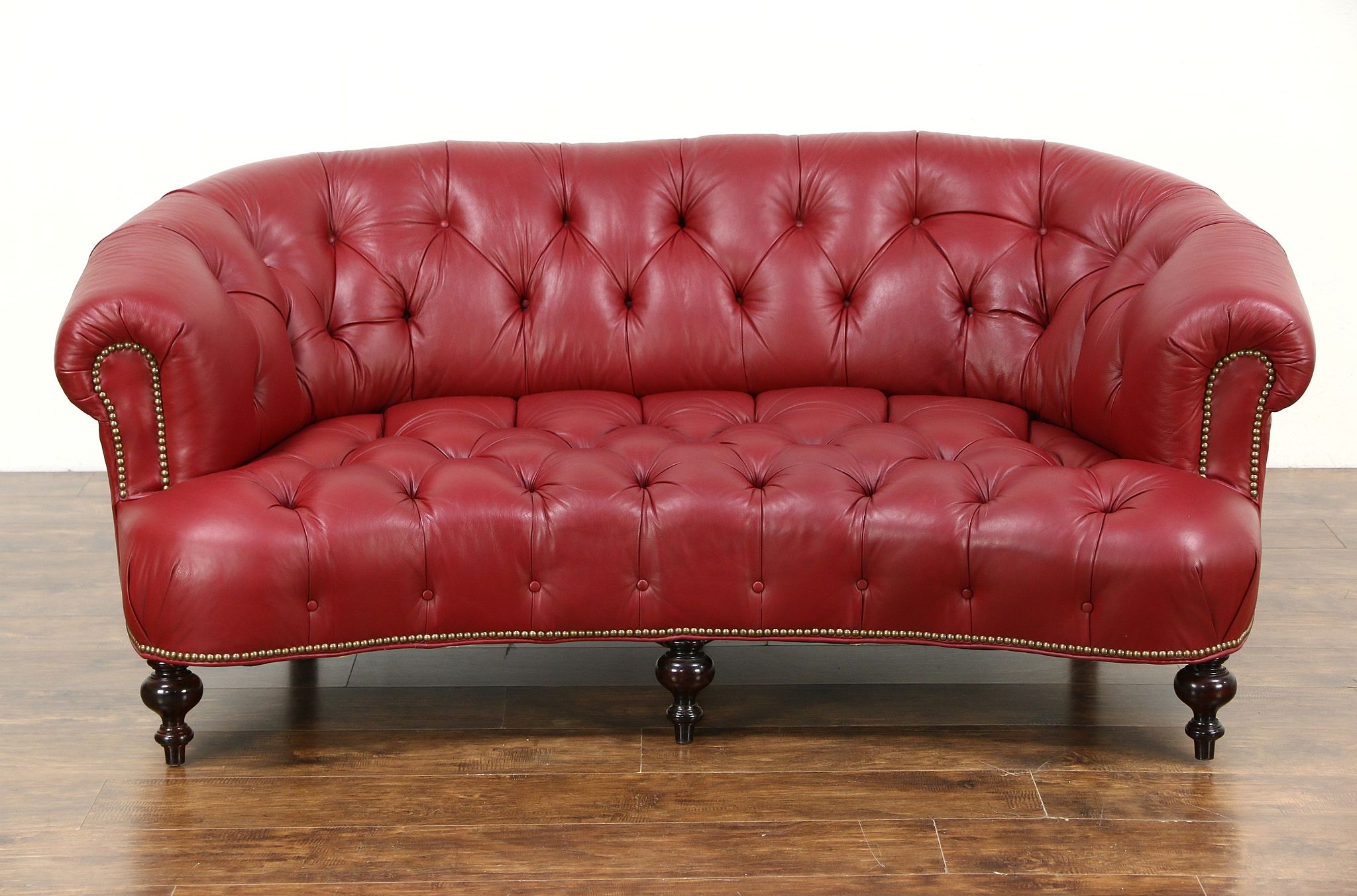 SOLD Chesterfield Tufted Leather Sofa Brass Nailhead Trim Harp