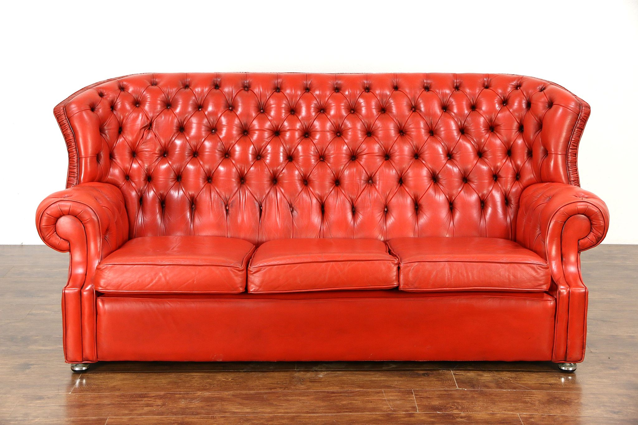 Favorite SOLD - Red Tufted Leather Vintage Scandinavian Traditional  IU75