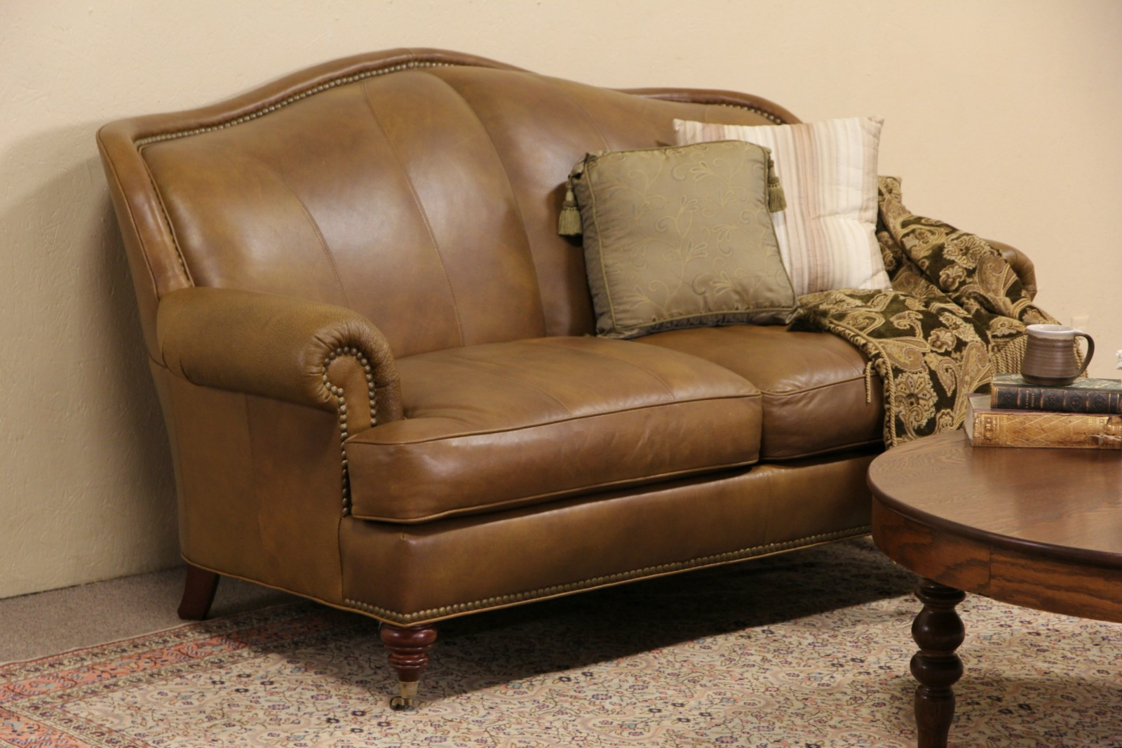 Sold Whittemore Sherrill Leather 2 Cushion Sofa Brass Nailhead