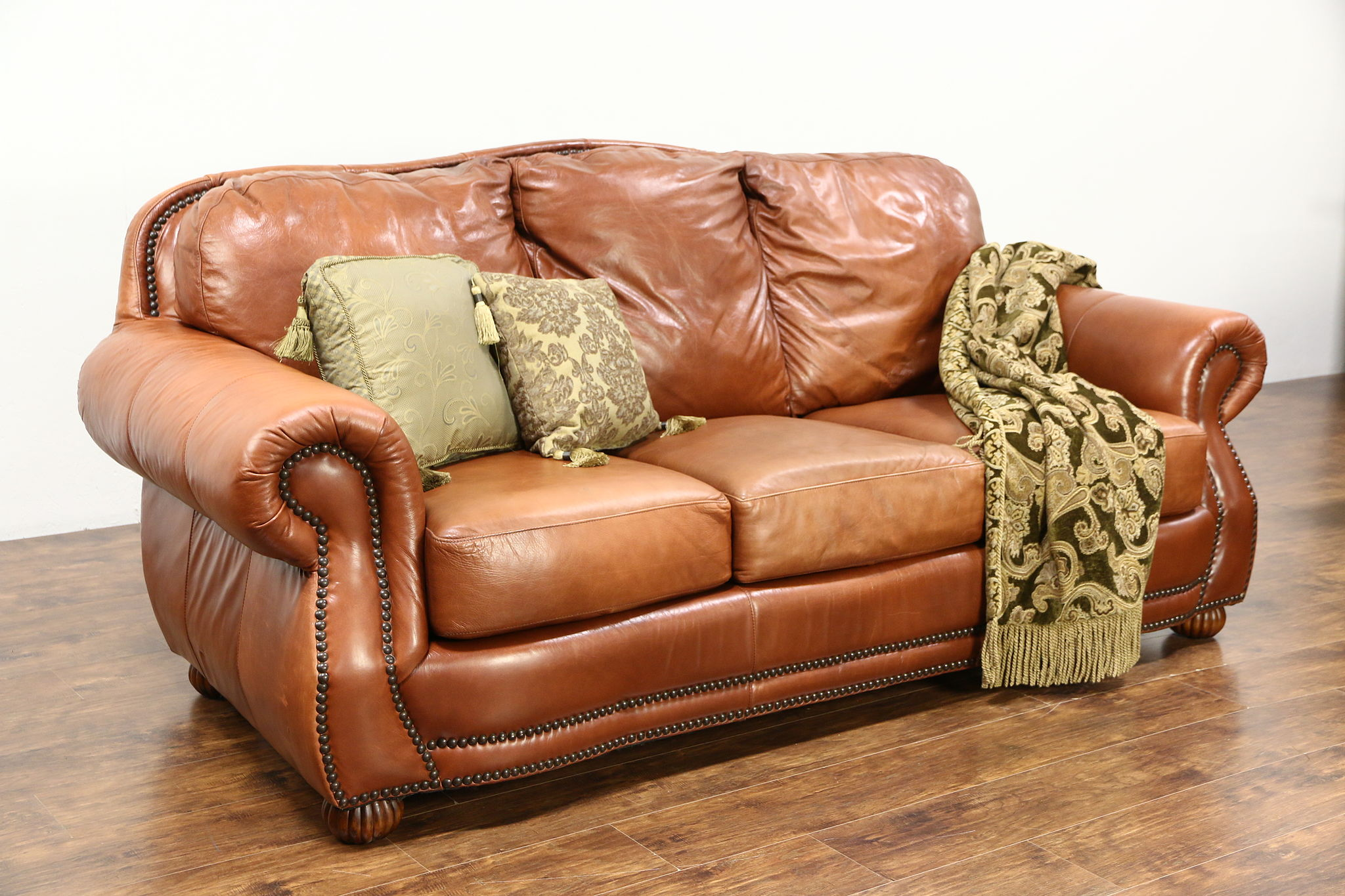SOLD - Leather Sofa, Brass Nailhead Trim, Viewpoint Leather Works ...