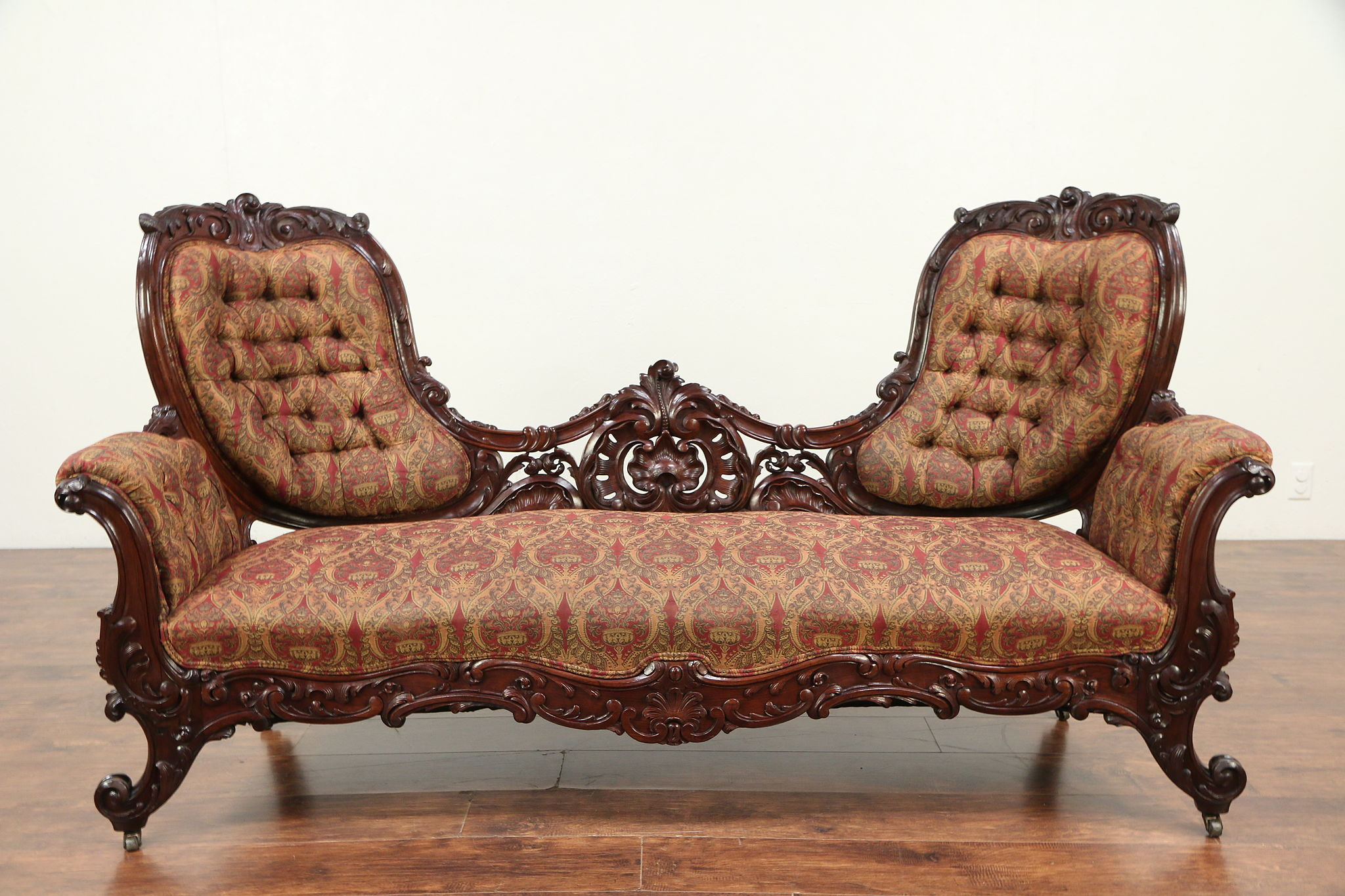Victorian Antique 1860 S Hand Carved Rosewood Sofa Recent Upholstery 29250