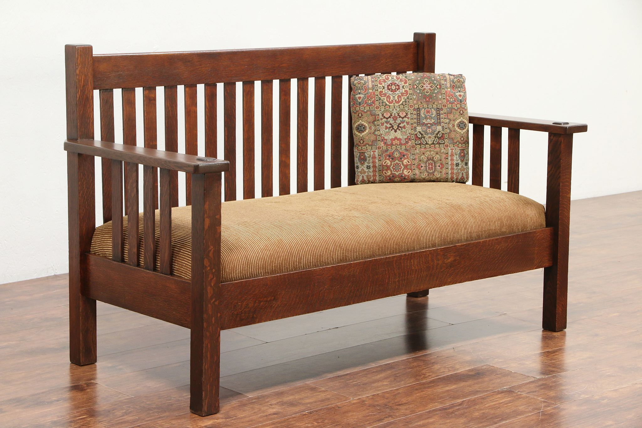 Mission Oak Arts Crafts Antique Craftsman Bench Settee Or Sofa 29364