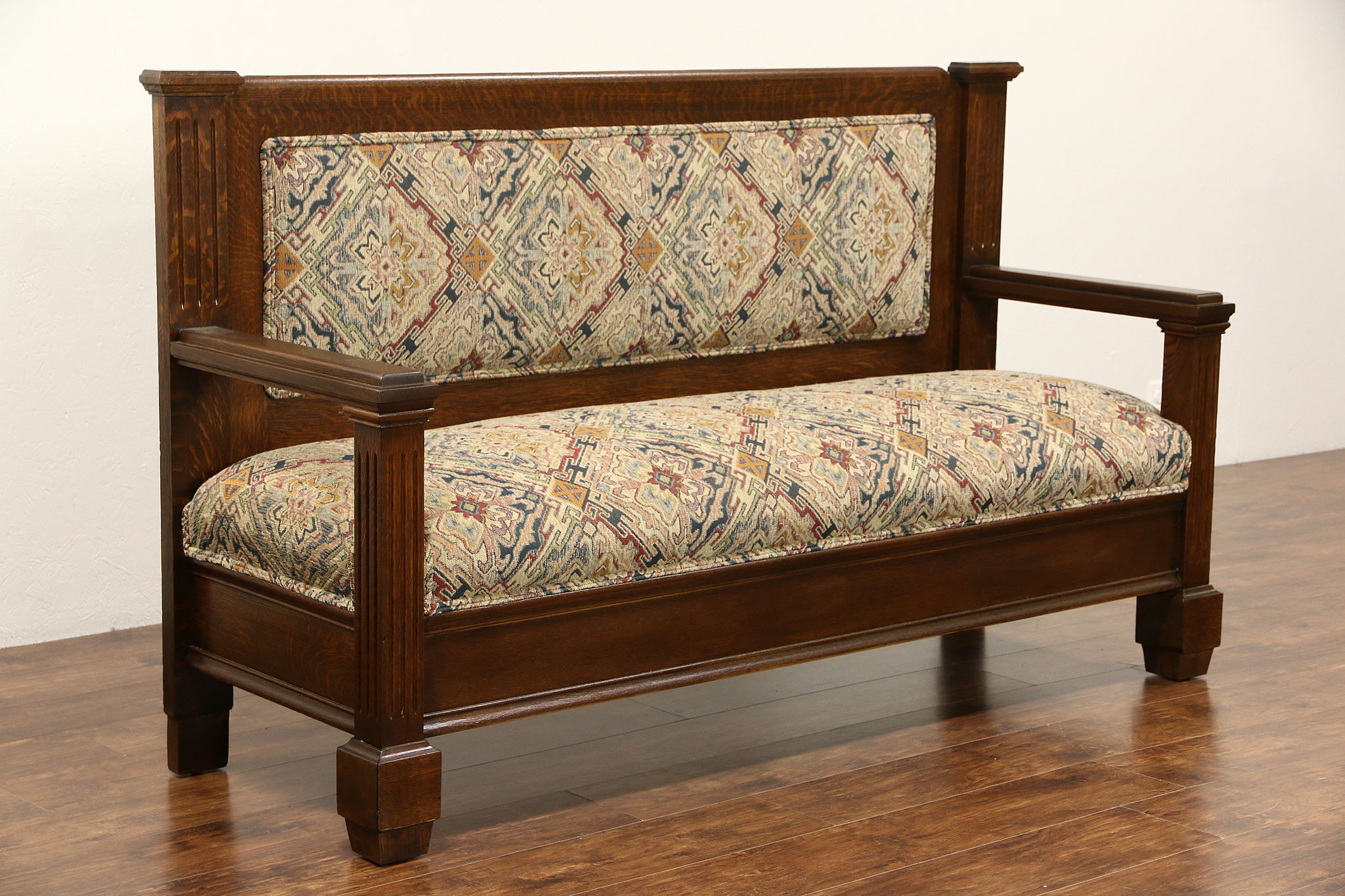 Sold Oak 1900 Antique Hall Bench Or Settee New Upholstery Harp Gallery Antique Furniture