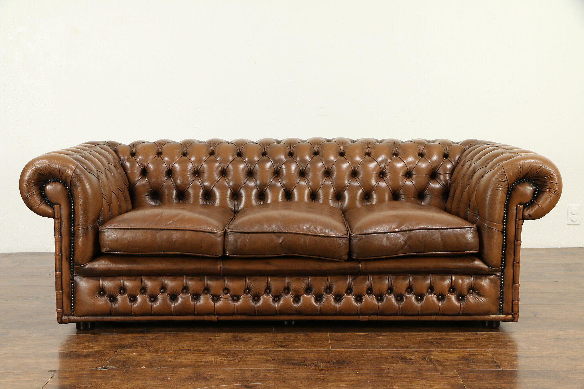 - SOLD - Chesterfield Tufted Brown Leather Vintage Scandinavian Sofa