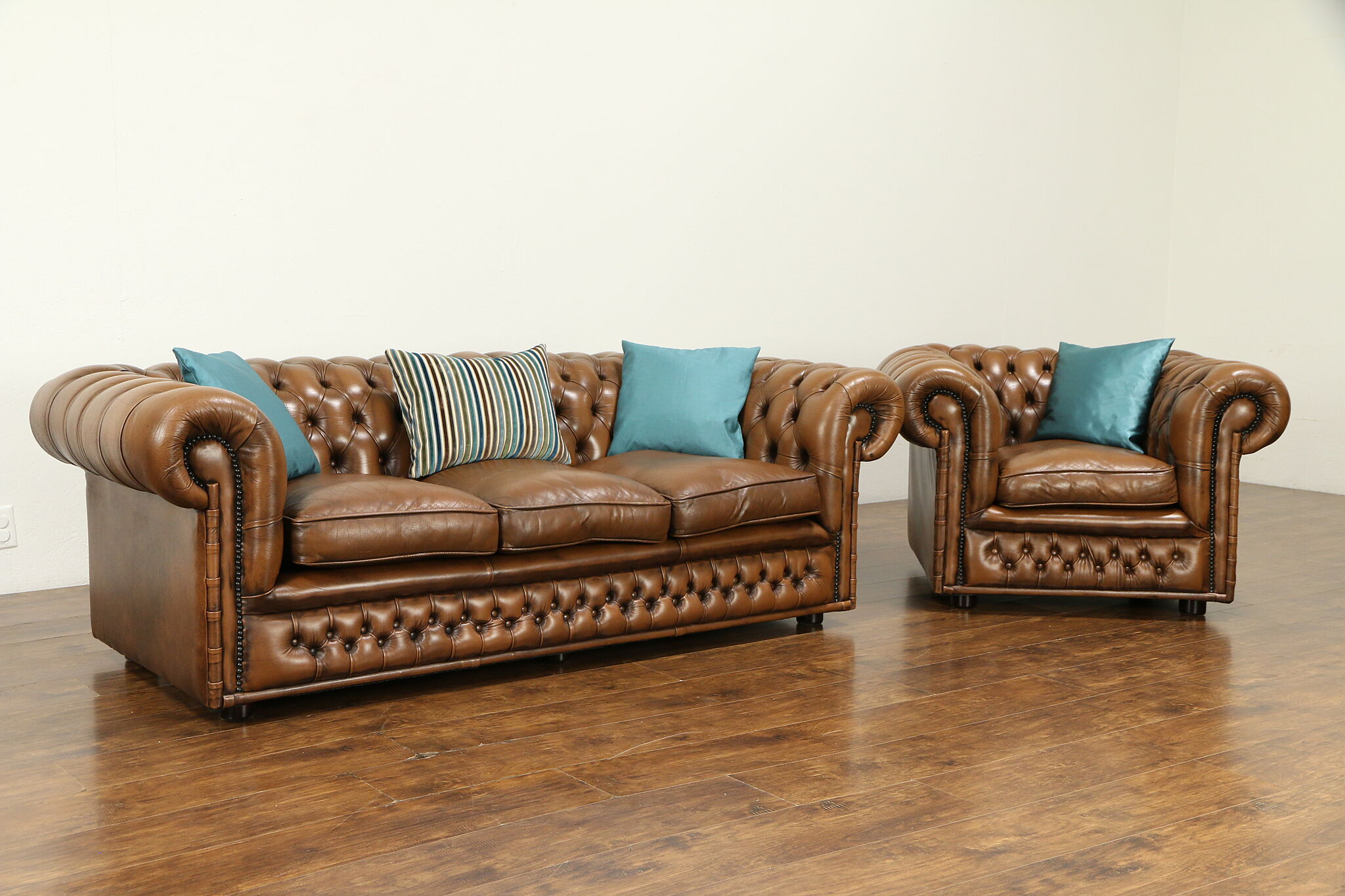 Chesterfield Tufted Brown Leather Vintage Scandinavian Sofa #31752