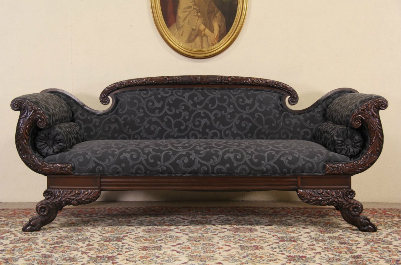 photo 1 - SOLD - Empire Carved Lion Paw Sofa, 1900 Antique Mayhew Milwaukee