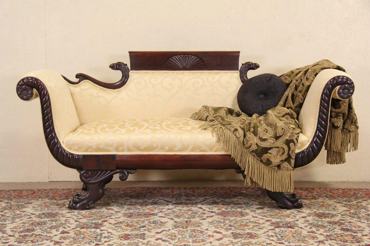 Empire Carved Eagle & Lion Paw 1920 Antique Sofa, Newly Upholstered - SOLD - Empire Carved Eagle & Lion Paw 1920 Antique Sofa, Newly