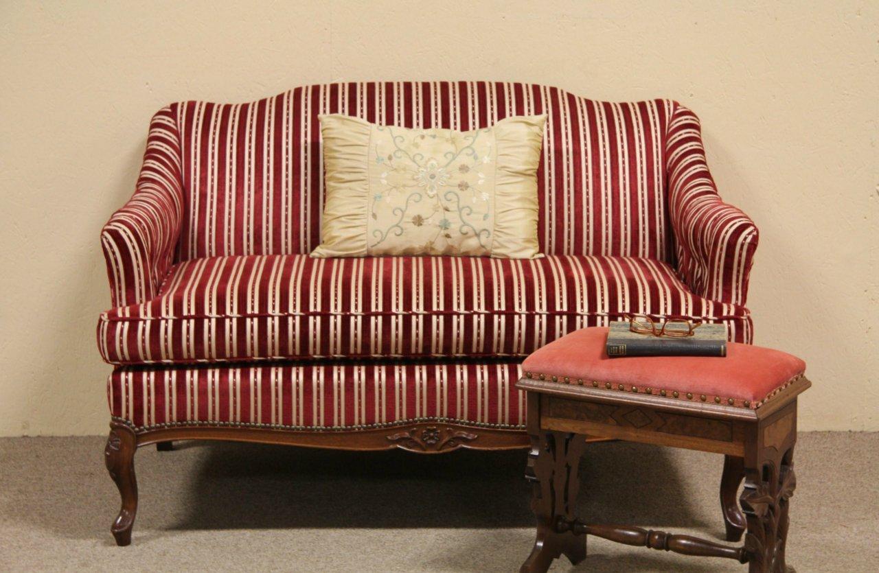 Captivating Vintage Loveseat Or Settee, Red Velvet Stripe