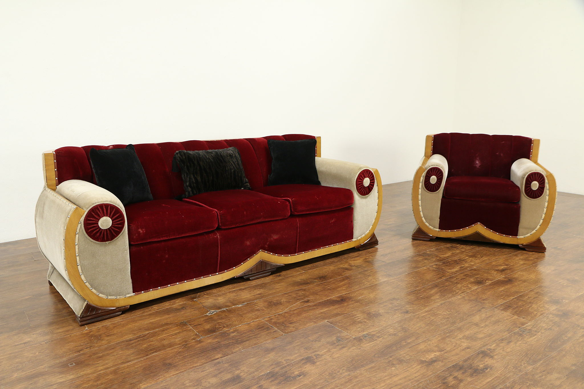 Sold Art Deco 1930 Vintage Sofa Chair Set Original Mohair Upholstery 32643 Harp Gallery Antiques Furniture