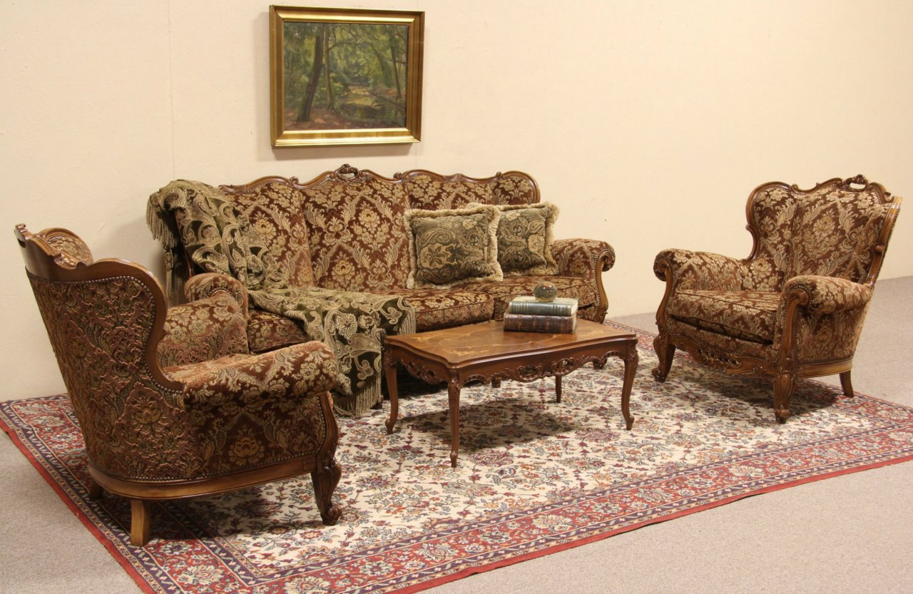 Italian Vintage Sofa Set Carved Pair Of Armchairs