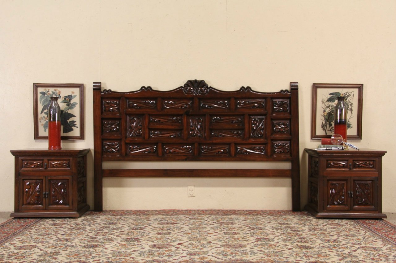 Spanish Colonial Carved Pine King Size Bedroom Set Headboard 2 Nightstands