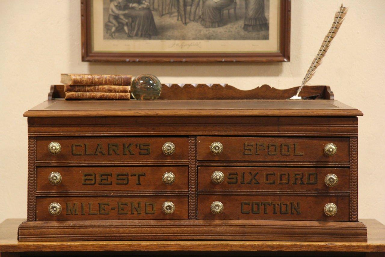 photo 1 - SOLD - Clark's 1890 Antique Oak Spool Cabinet Desk - Harp Gallery
