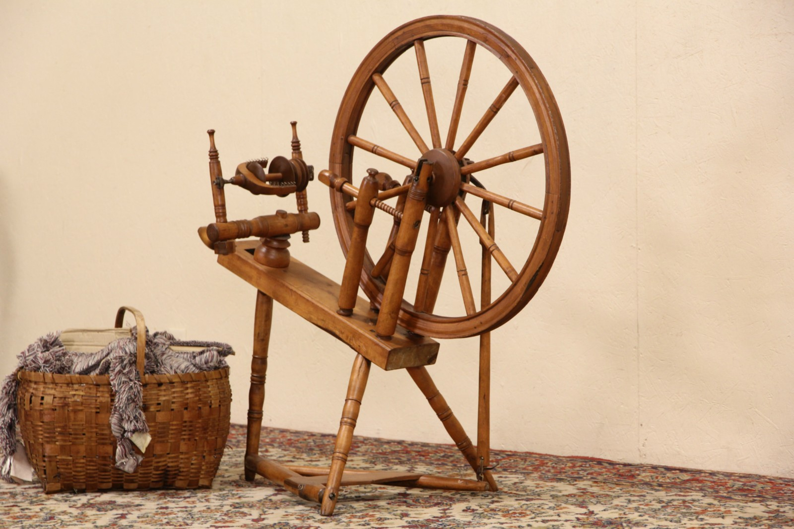 Sold Maple Spinning Wheel Late 1800 S Harp Gallery