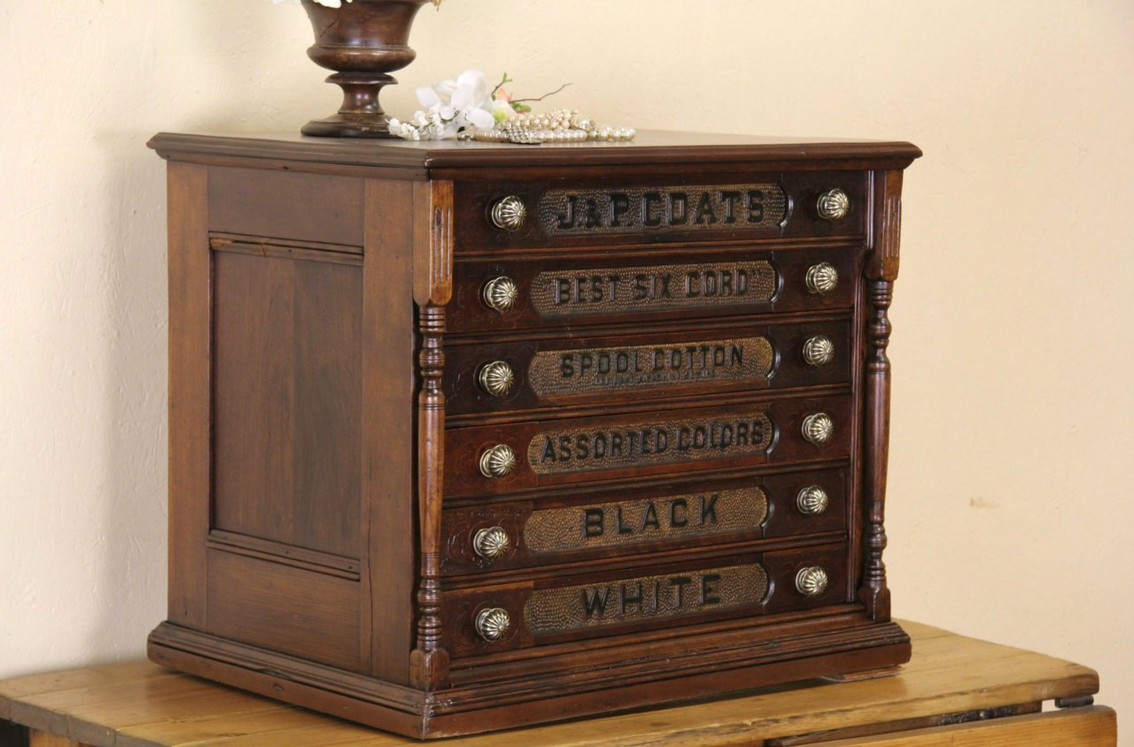 Coats Cherry 1880 Antique 6 Drawer Spool Cabinet, Jewelry Chest ... - SOLD - Coats Cherry 1880 Antique 6 Drawer Spool Cabinet, Jewelry