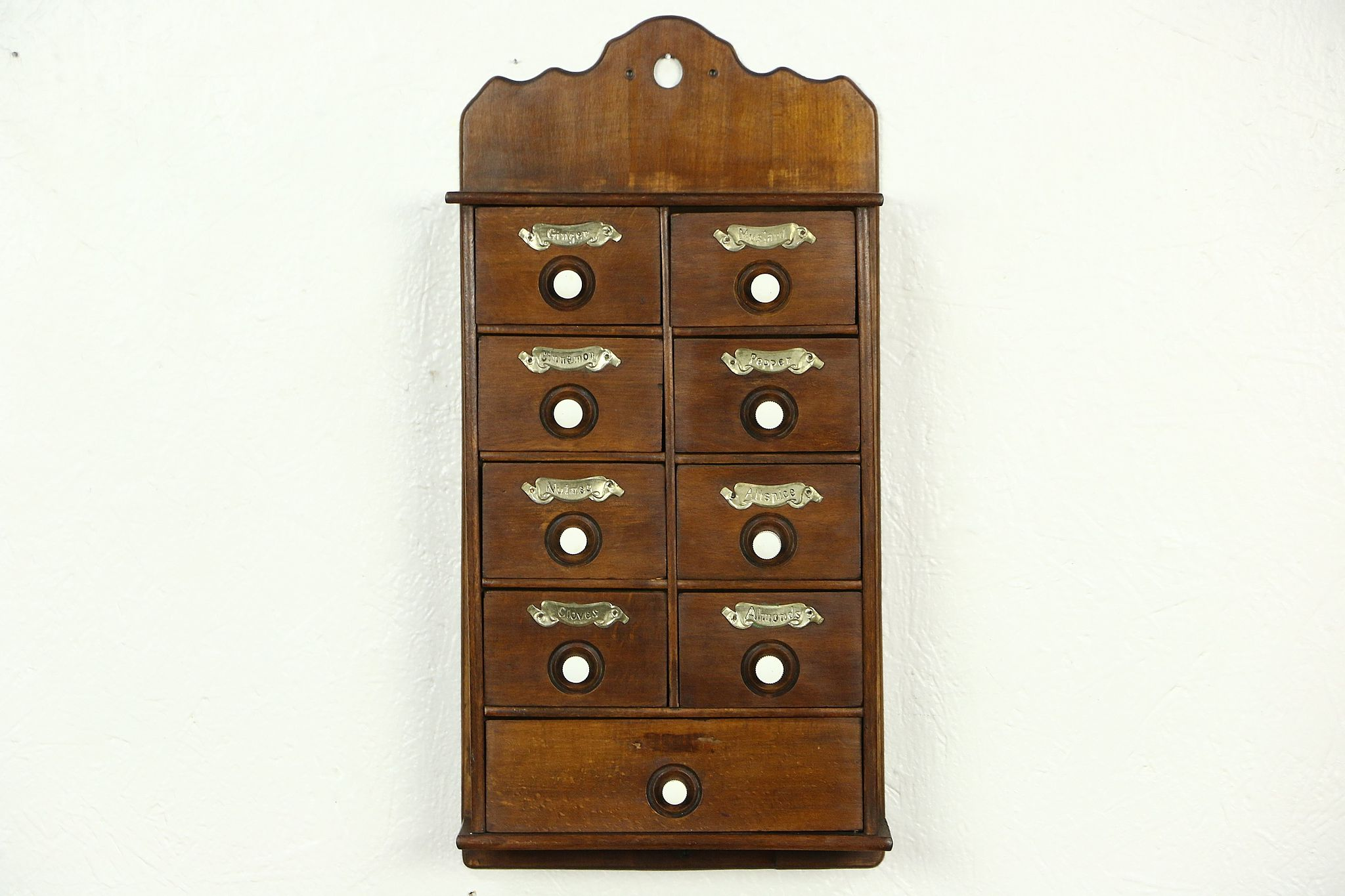Spice Cabinet, 1910 Antique Hanging Or Countertop, ...