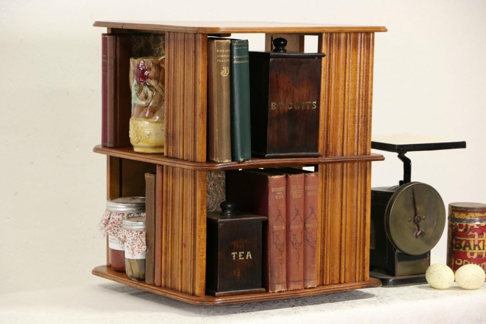 Spinning Bookcase, 1890's Antique Chairside or Tabletop Revolving Bookshelf  ...