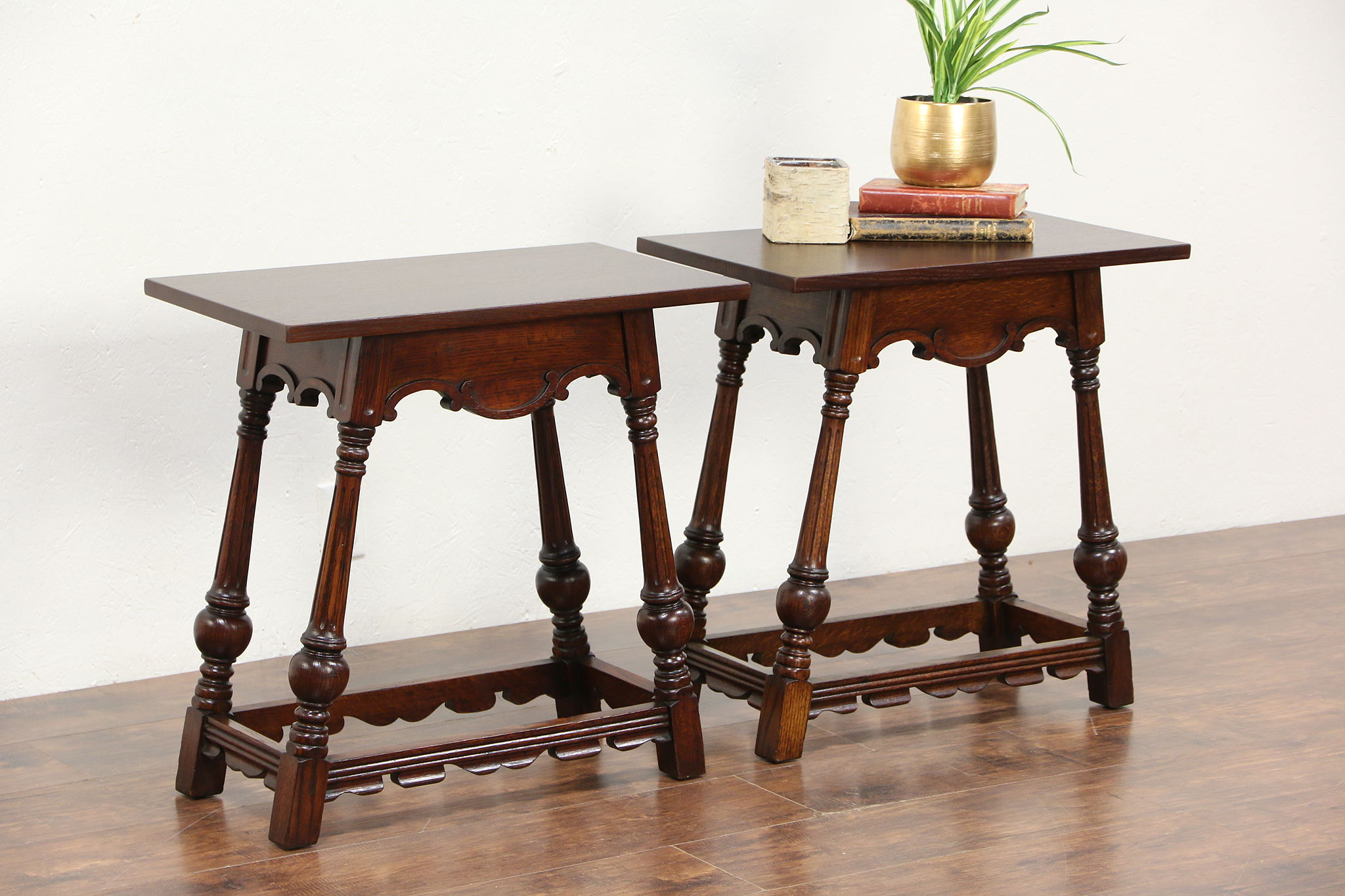 Pair of carved oak 1930 vintage english style end or lamp tables mozeypictures Choice Image