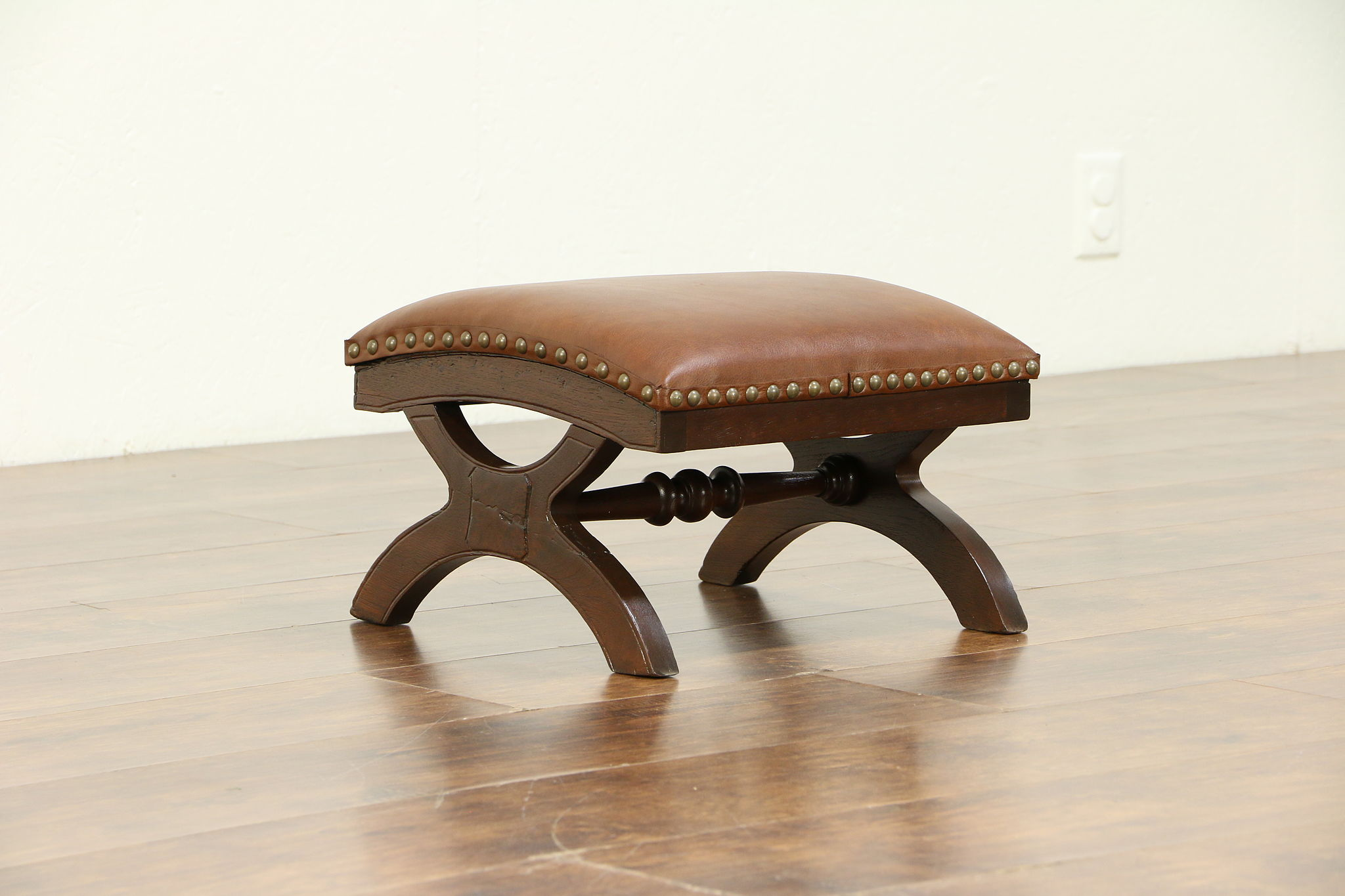Marvelous Victorian Antique 1880 Walnut Foot Stool Leather Upholstery 30465 Ibusinesslaw Wood Chair Design Ideas Ibusinesslaworg