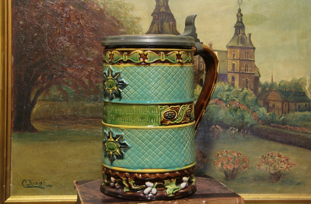 Sold Majolica Hand Painted German Antique 1900 Stein
