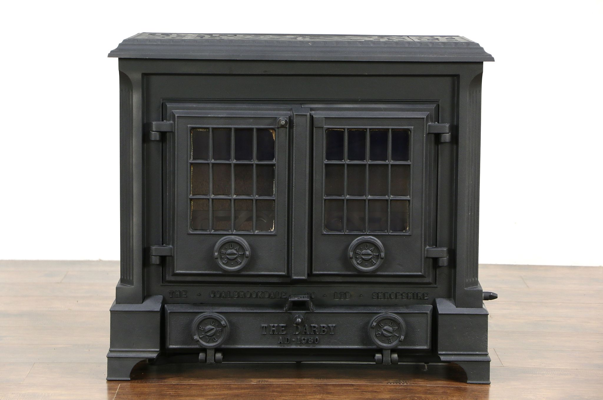 Sold coalbrookdale signed darby 1980 english iron wood stove coalbrookdale signed darby 1980 english iron wood stove glass doors planetlyrics Image collections