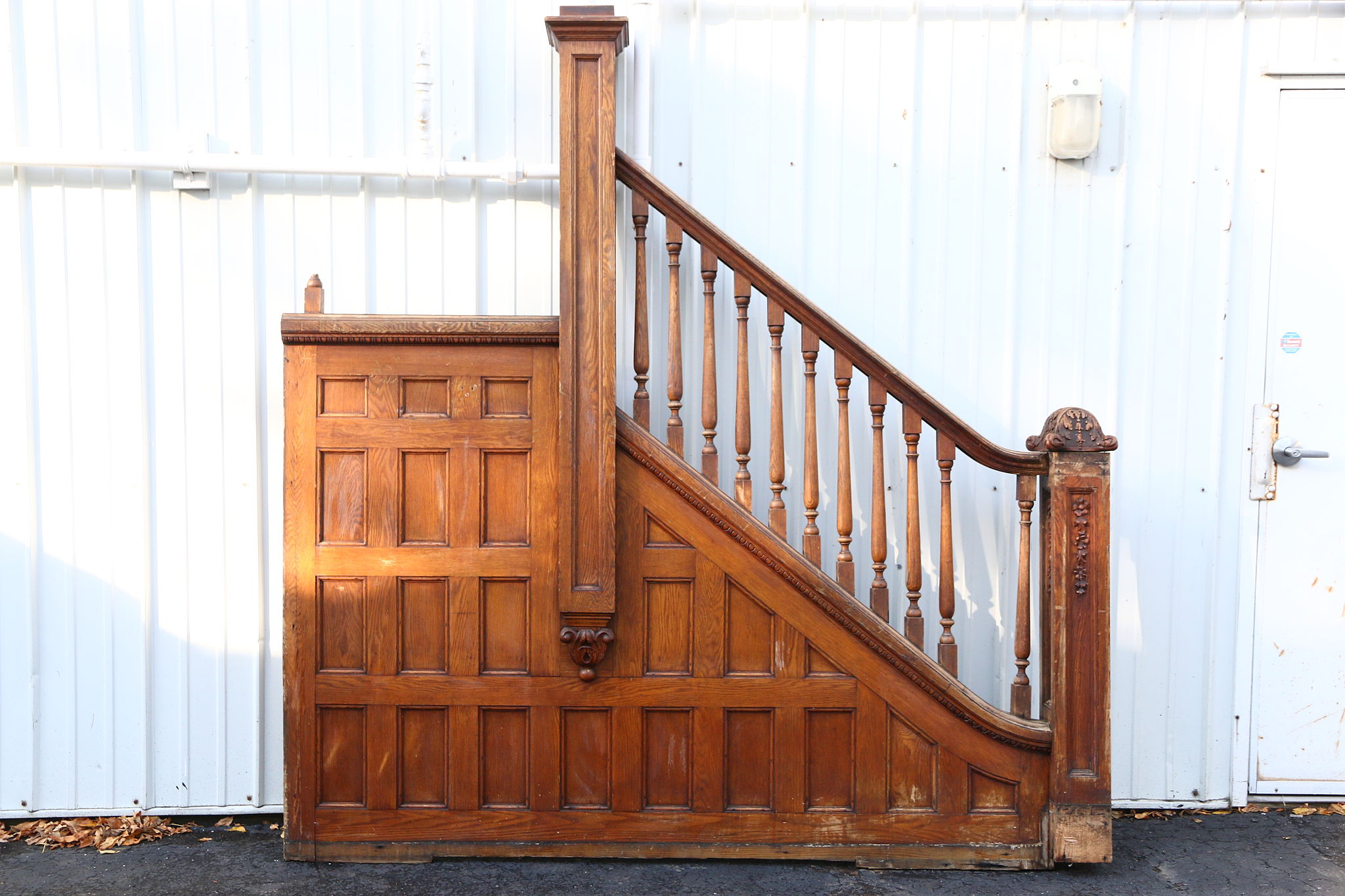 Victorian 1895 Oak Archictectural Salvage Staircase Railings U0026 Newel Posts