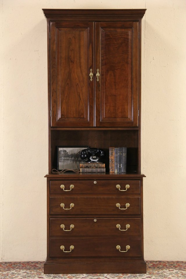 Stickley Cherry Vintage Chest Style Lateral File Cabinet U0026 Bookcase