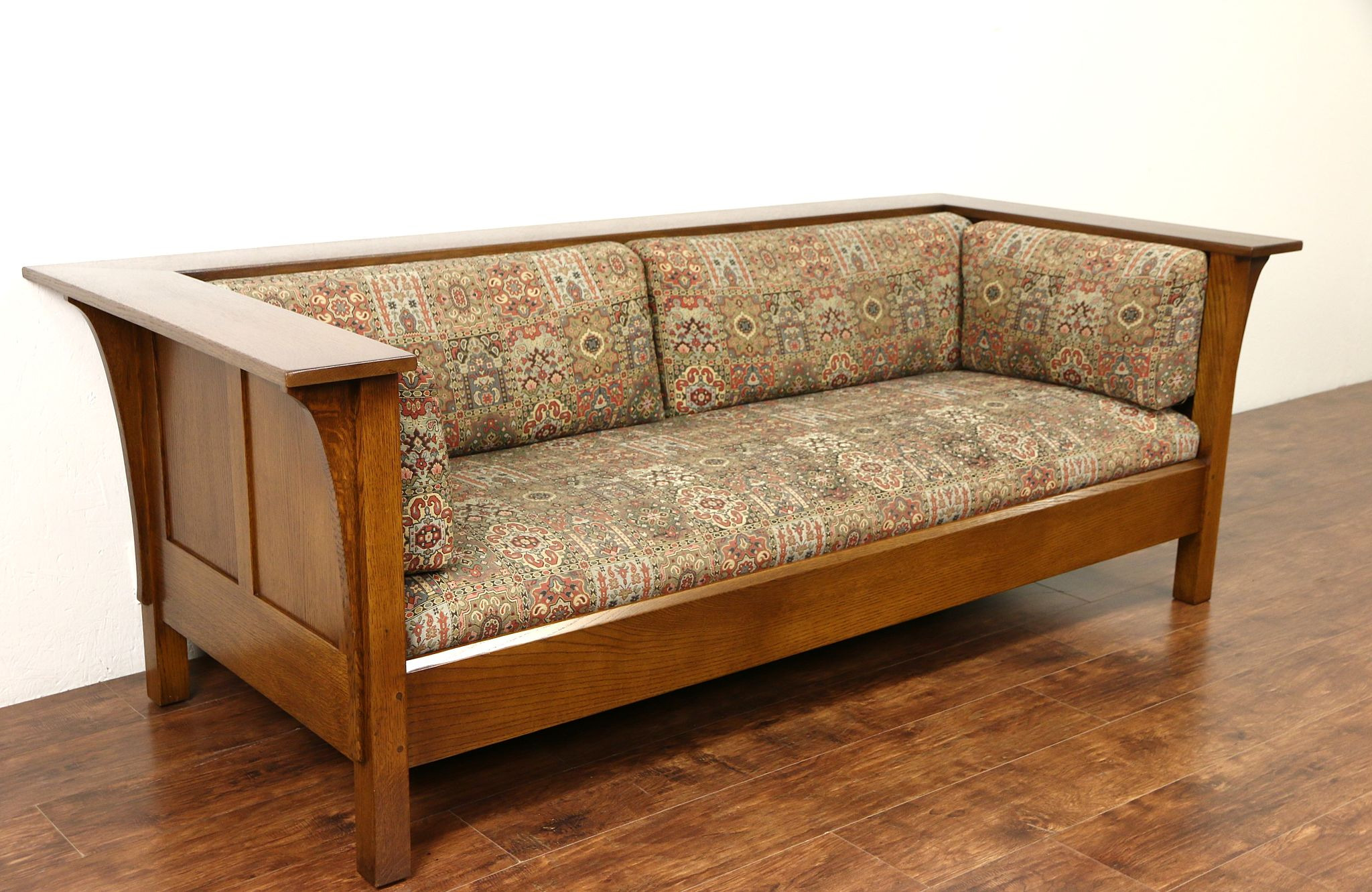 Sold Stickley Signed Craftsman Oak Vintage Sofa