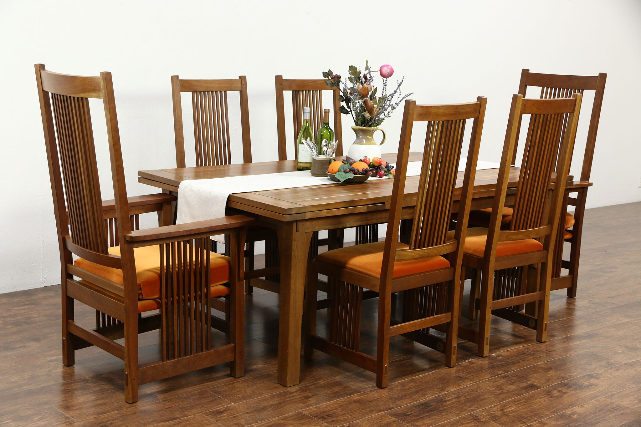 Stickley Signed Cherry Craftsman Design 1995 Dining Set Table Leaves 6 Chairs