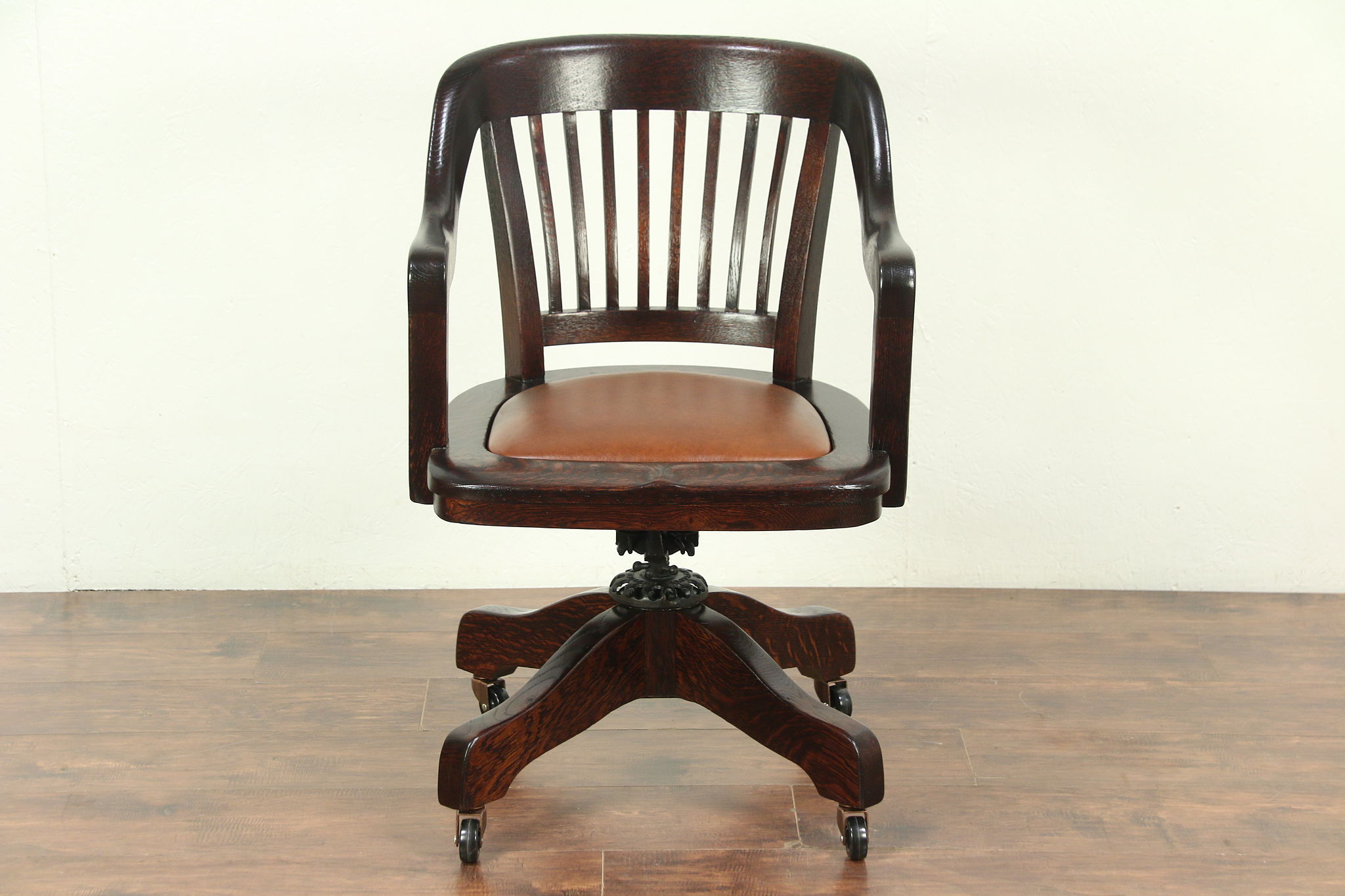 Oak Antique Adjustable Swivel Desk Chair, Signed & Pat 1914,