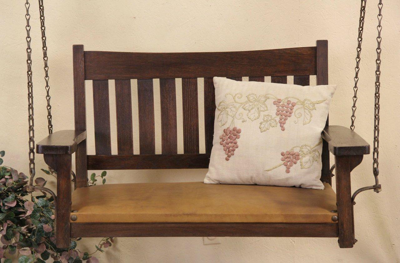 Arts U0026 Crafts Mission Oak 1905 Porch Swing, Leather Seat