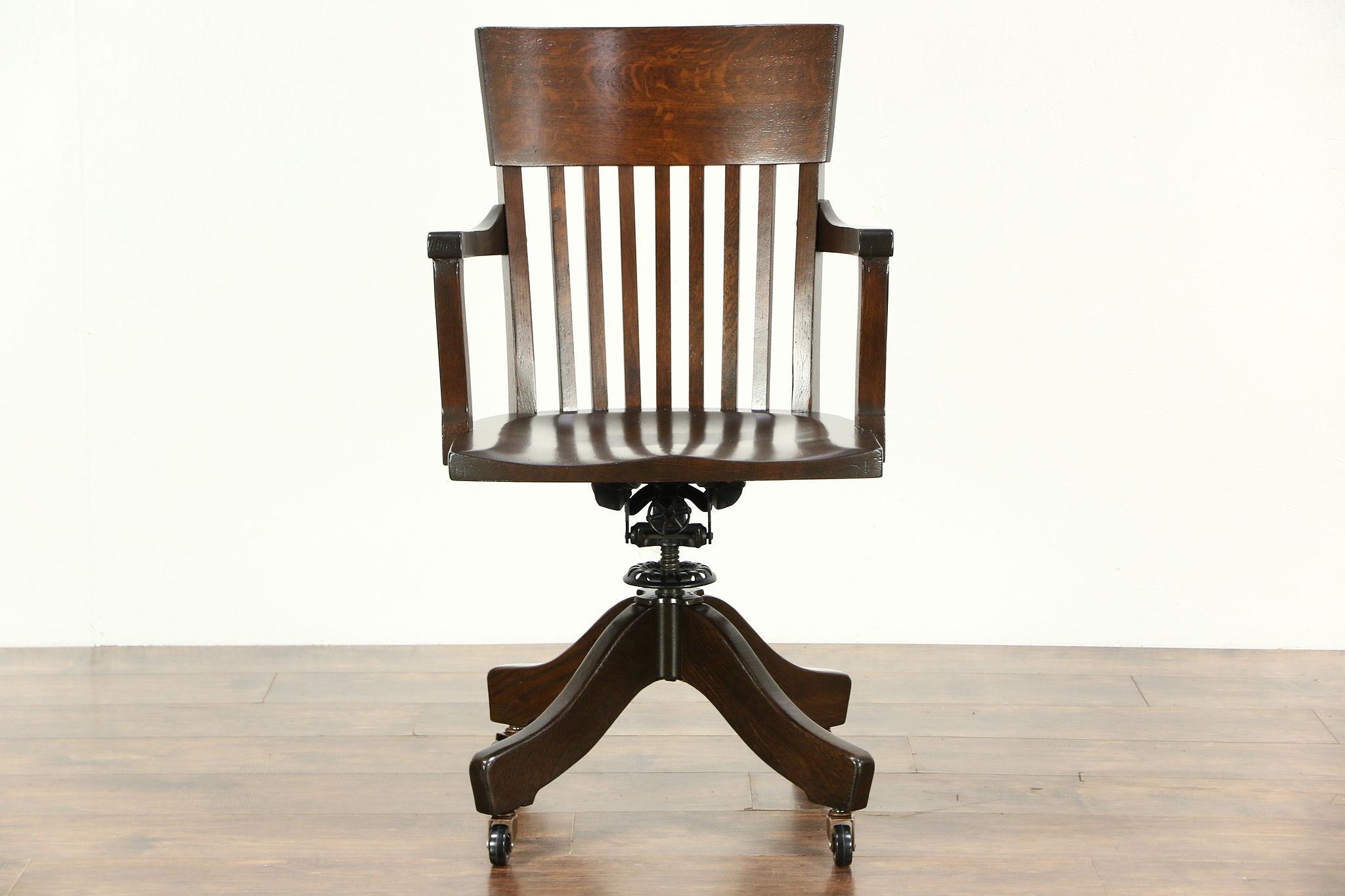 antique swivel office chair. Oak 1915 Antique Swivel Adjustable Desk Chair, Signed Johnson, Office Chair H