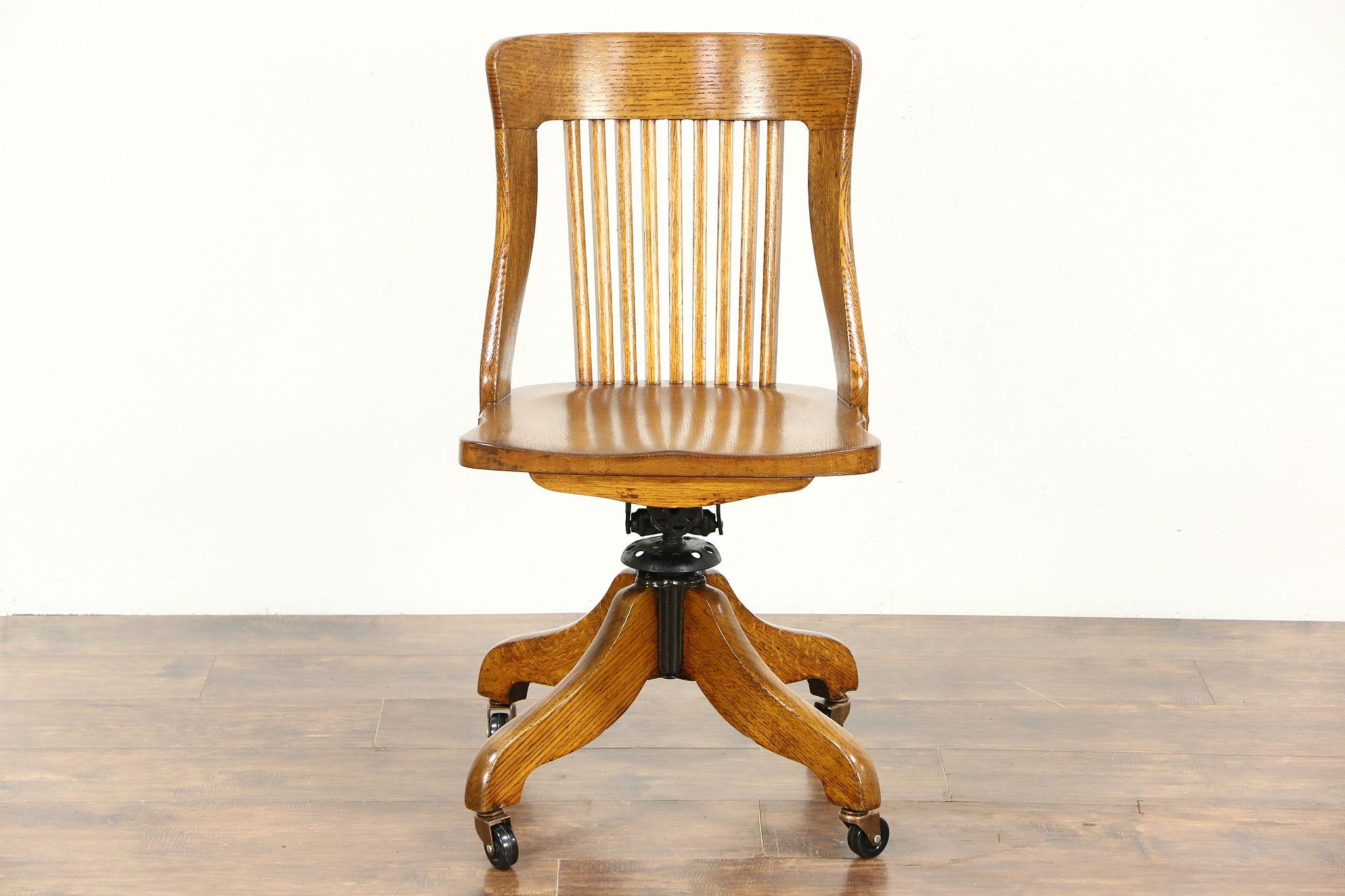Oak 1910 Antique Swivel Adjule Desk Chair Signed Sheboygan Wi