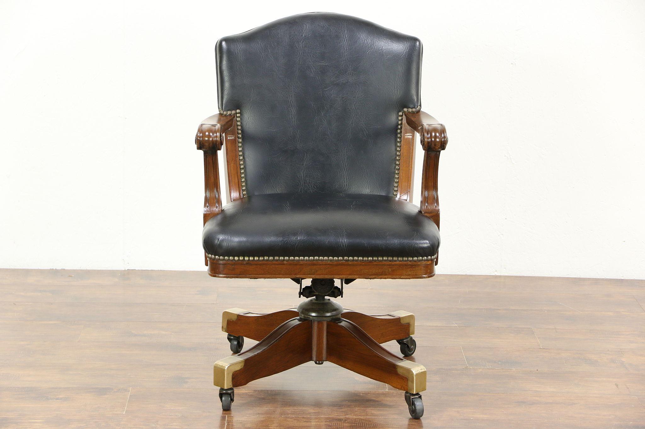 Walnut Swivel Adjustable 1915 Antique Desk Chair, Faux Leather