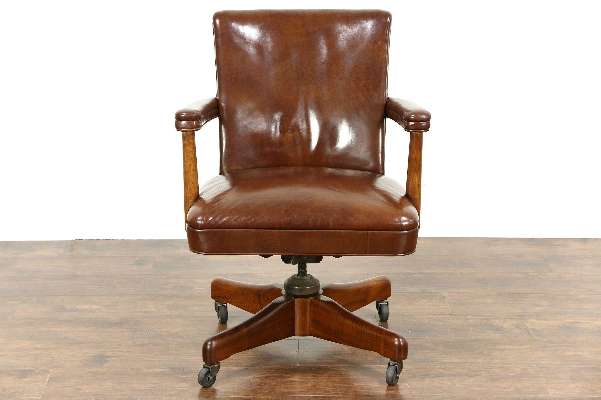 SOLD Midcentury Modern 1960 Vintage Leather Swivel Adjustable