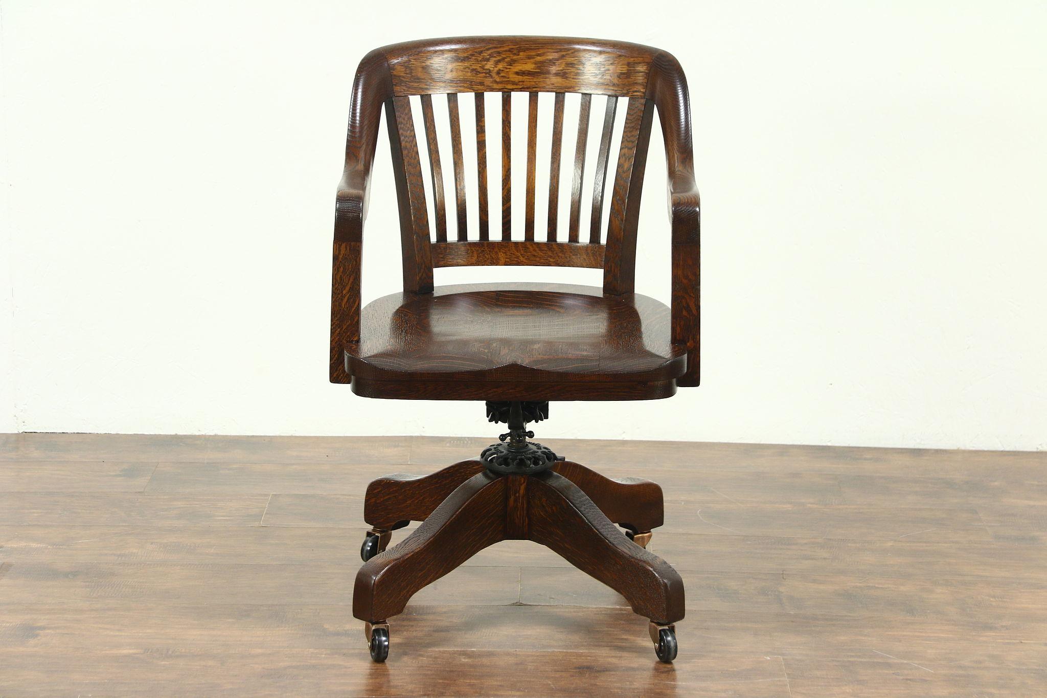 Oak Quarter Sawn Antique 1910 Adjule Swivel Desk Chair Johnson Milwaukee