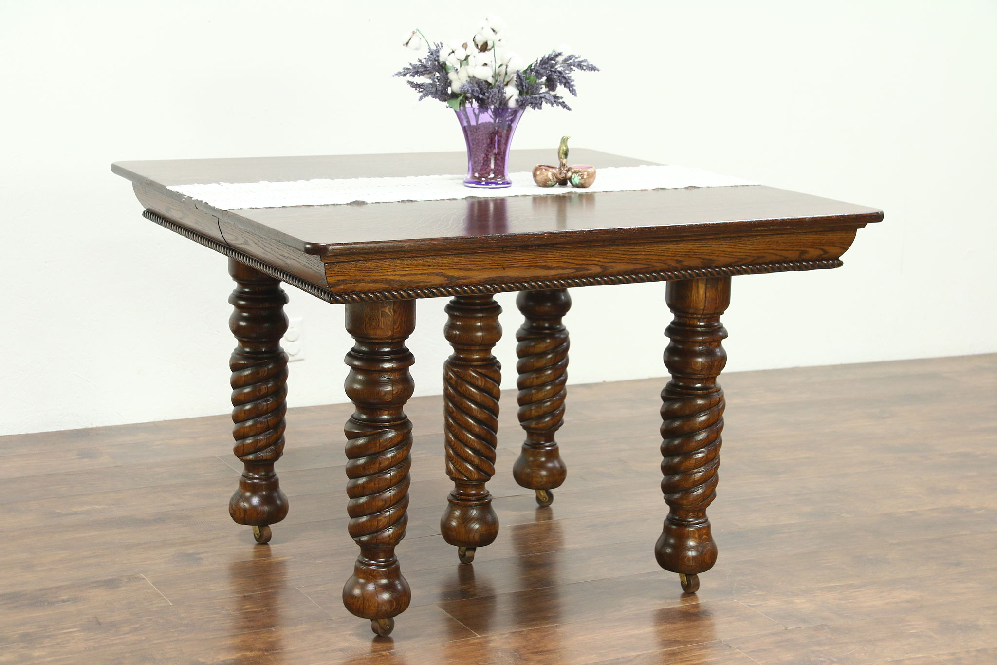 Oak Antique 1900 Square Dining Table 4 Leaves 5 Spiral Legs