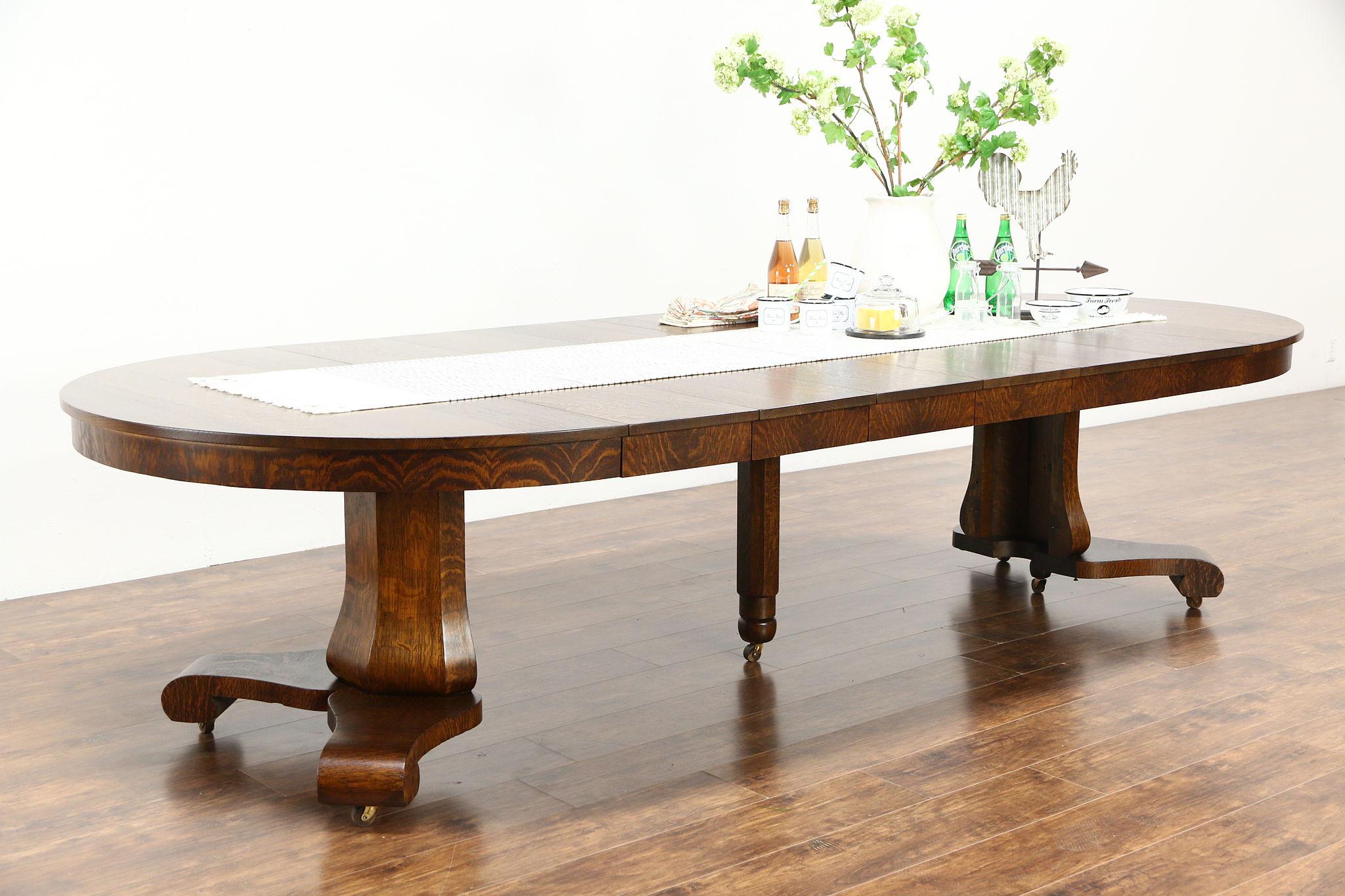 sold round antique empire 54 pedestal dining table 6 leaves signed extends 10 39 5 harp. Black Bedroom Furniture Sets. Home Design Ideas