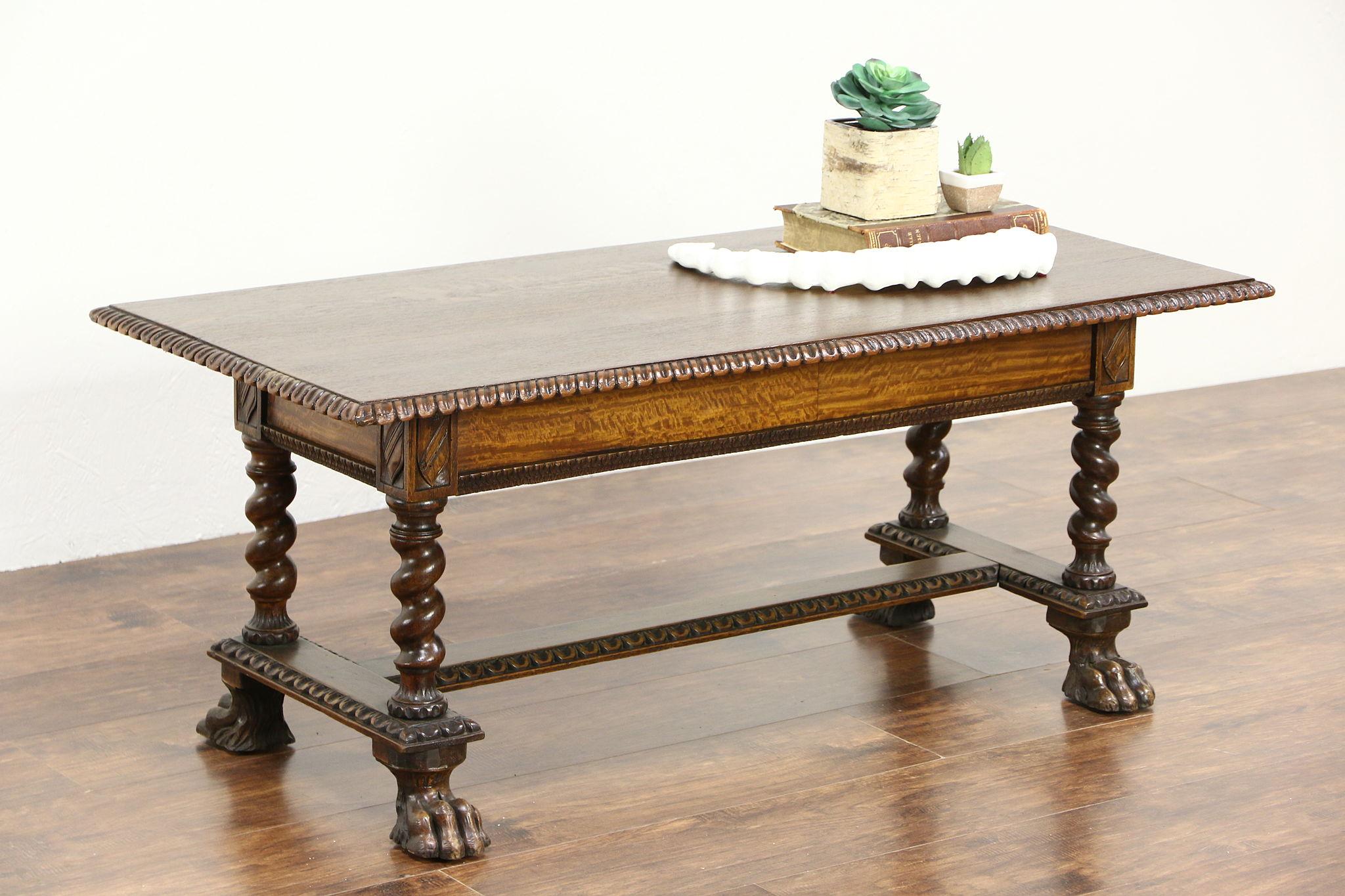 Oak 1900 Antique Dutch Coffee Table Carved Paw Feet Spiral Columns