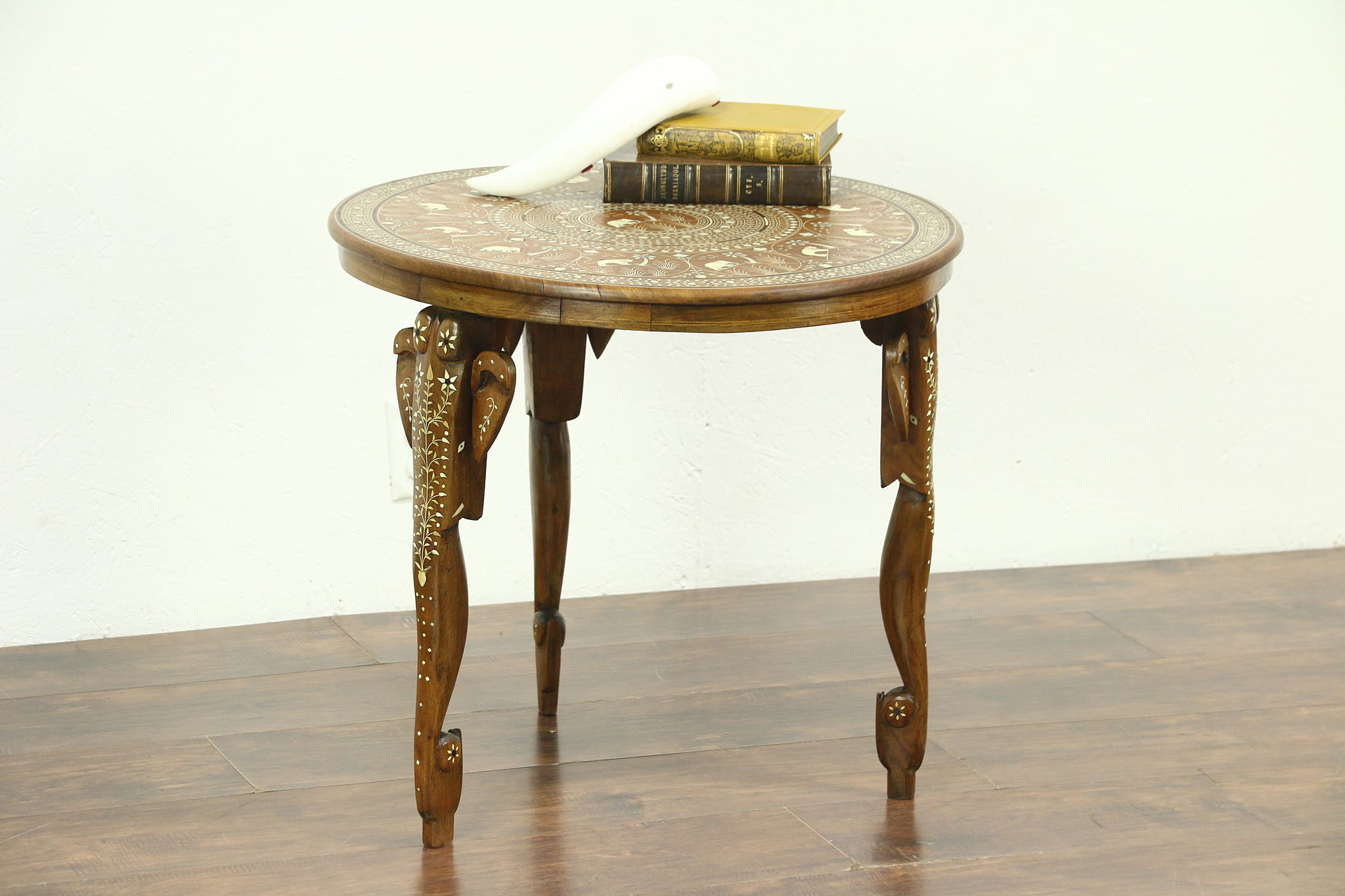 sold elephant motif inlaid carved teak bone chairside or coffee