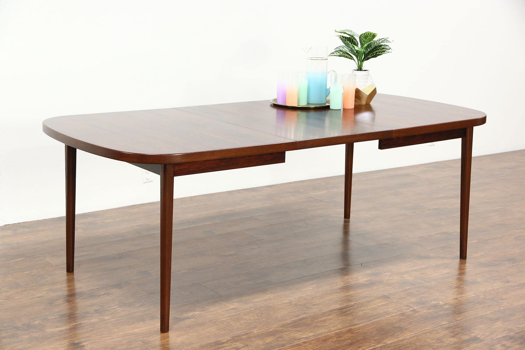 SOLD Midcentury Danish Modern Rosewood S Vintage Dining Table - Danish modern dining table with leaves