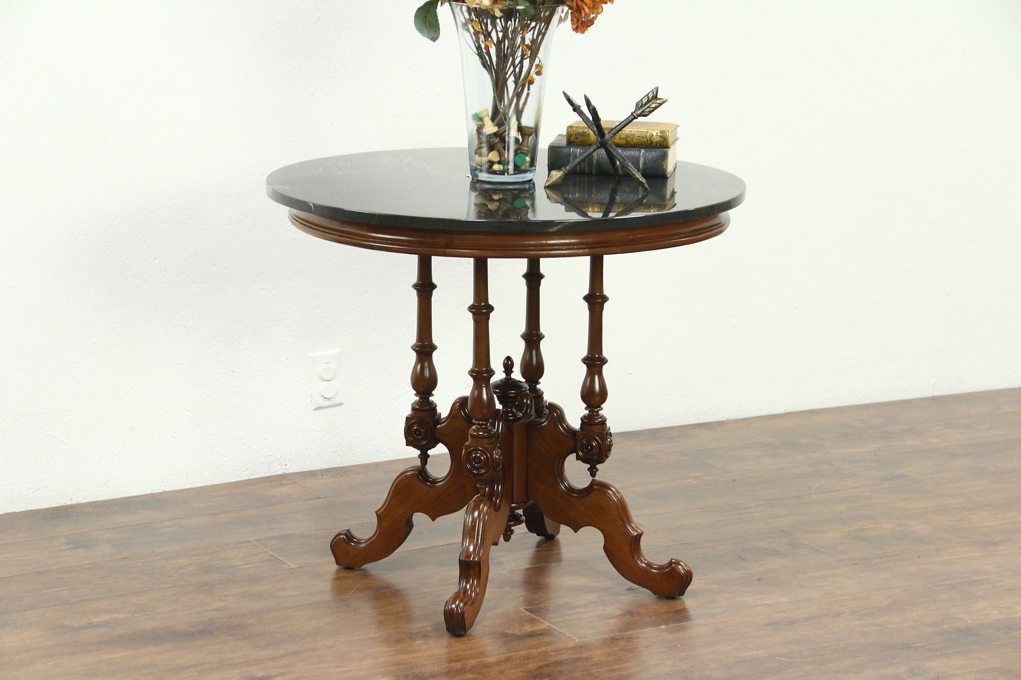 Victorian 1870 Antique Carved Walnut Lamp Or Parlor Table, Cultured Marble  Top ...