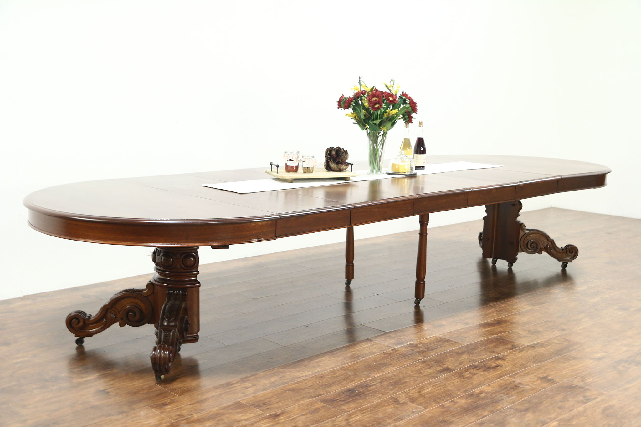 Victorian Antique 1890 Walnut Round 57 Dining Table Leaves Extends 13 9