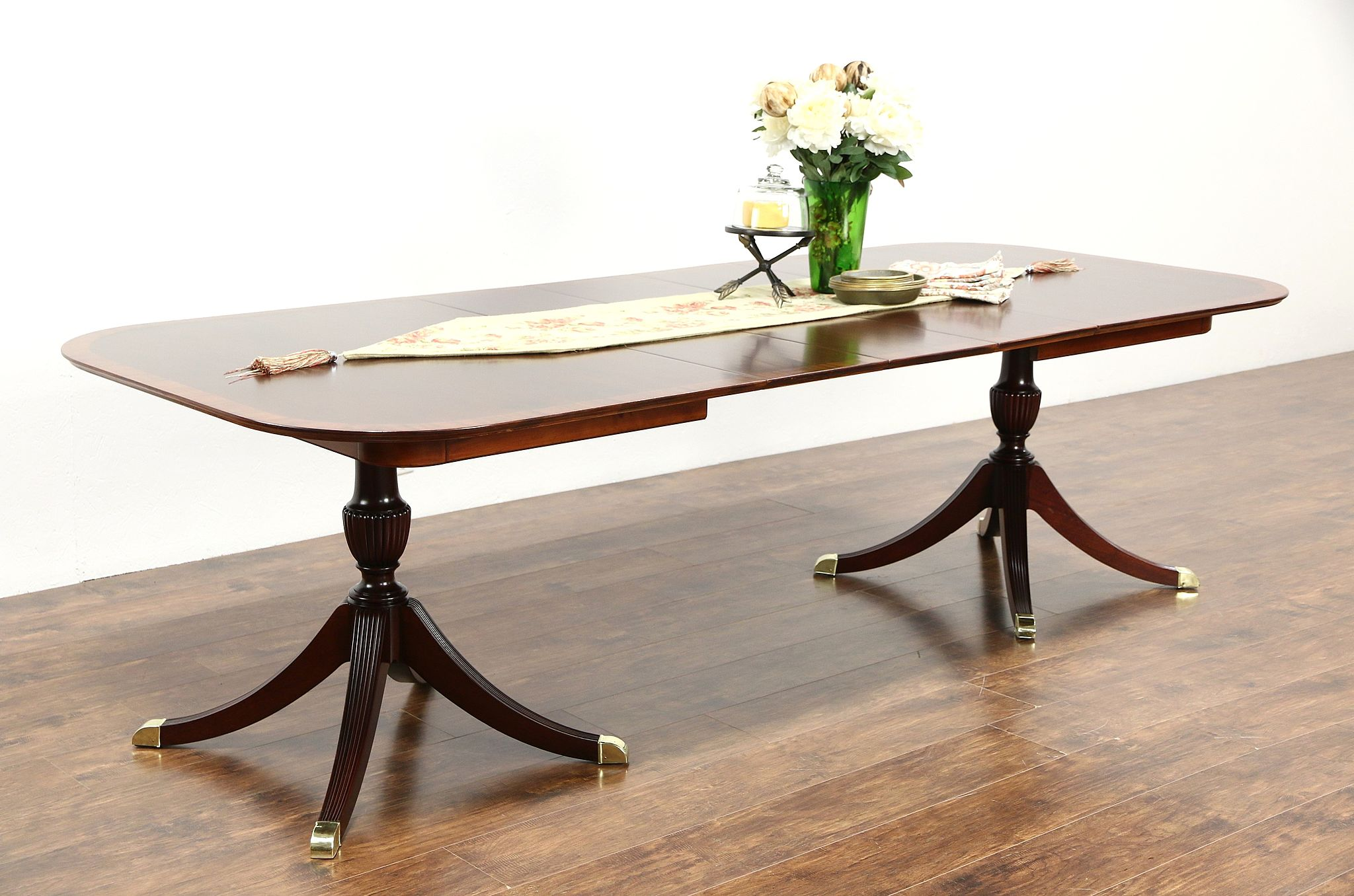 dark small pin wood double pedestal dining room fantastic rectangular table