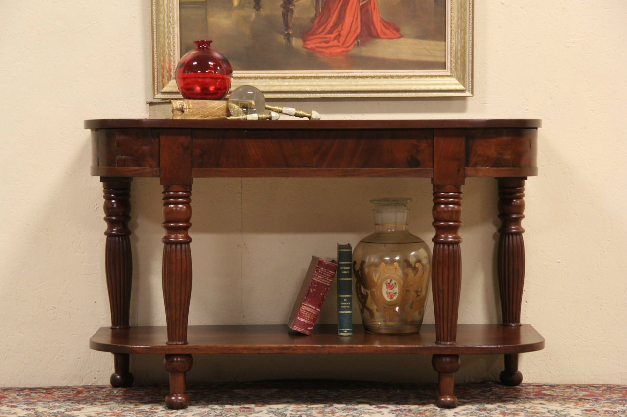 American Empire 1820 Antique Hall Table Or TV Console