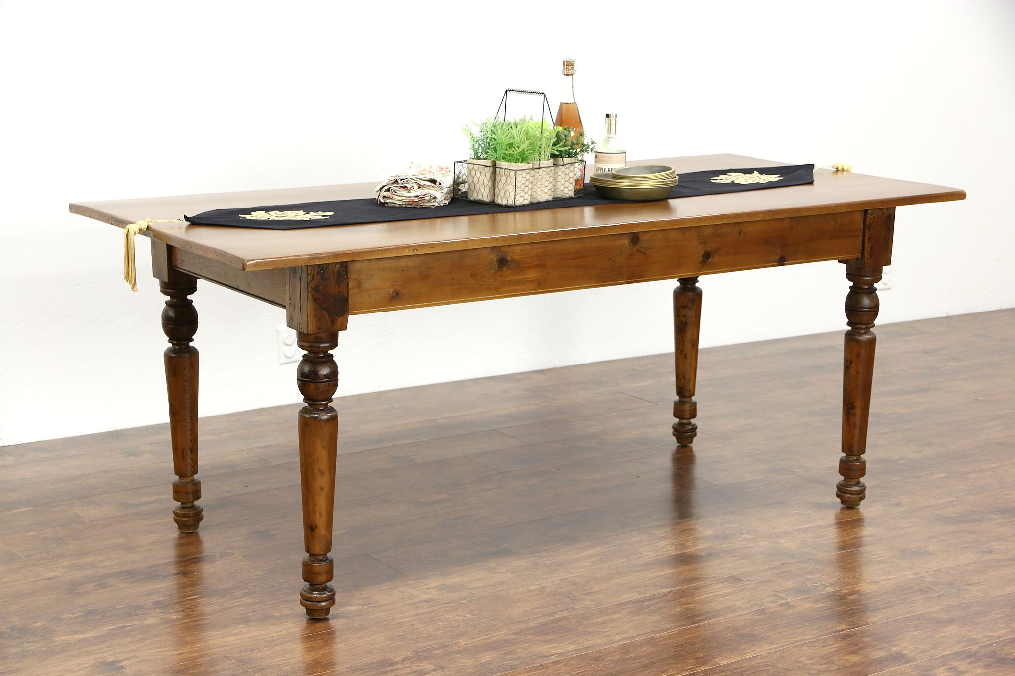 Country Pine U0026 Maple 1890 Antique Farmhouse Harvest Dining Table