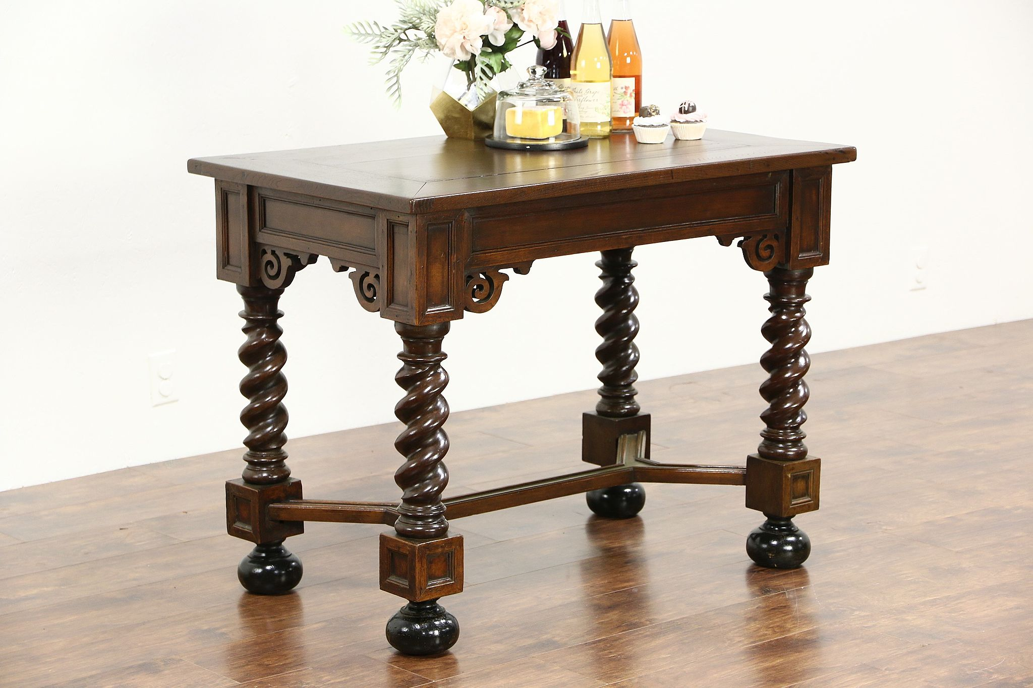 Sold Dutch Antique Oak Library Hall Or Console Table Kitchen Island Spiral Legs Harp