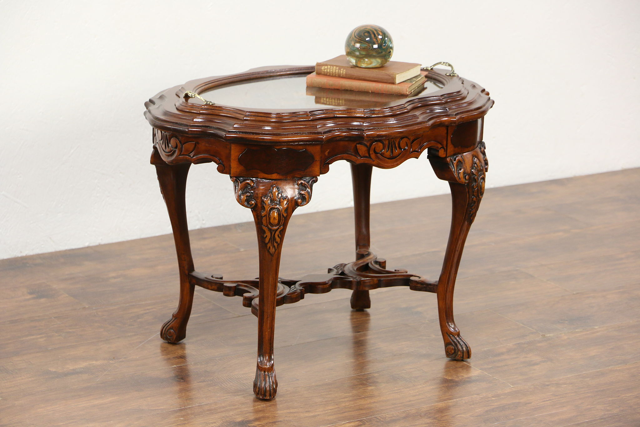 Carved Walnut U0026 Bird Marquetry 1930u0027s Vintage Coffee Table, Glass Tray ...