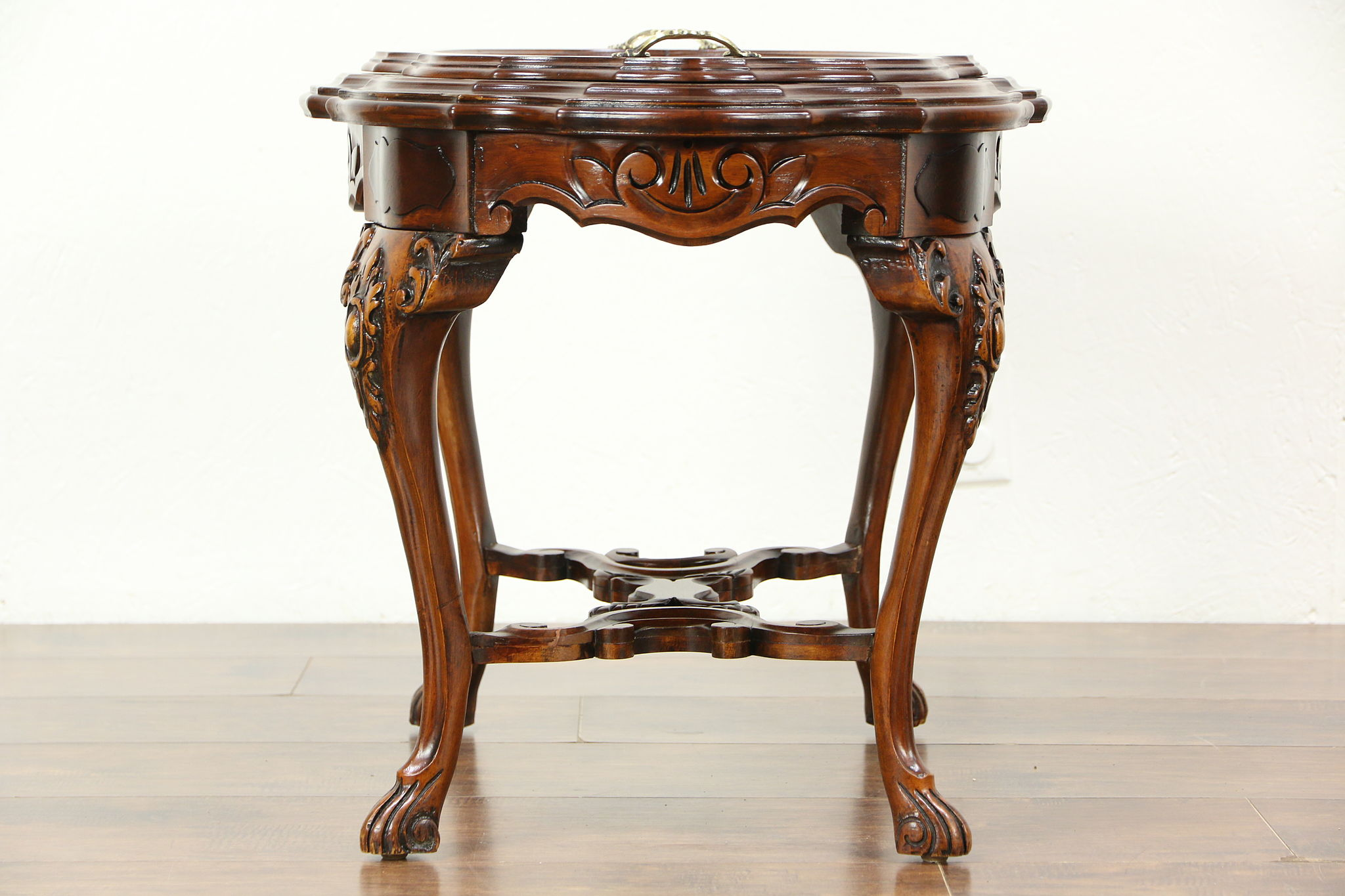 Carved Walnut & Bird Marquetry 1930 s Vintage Coffee Table Glass