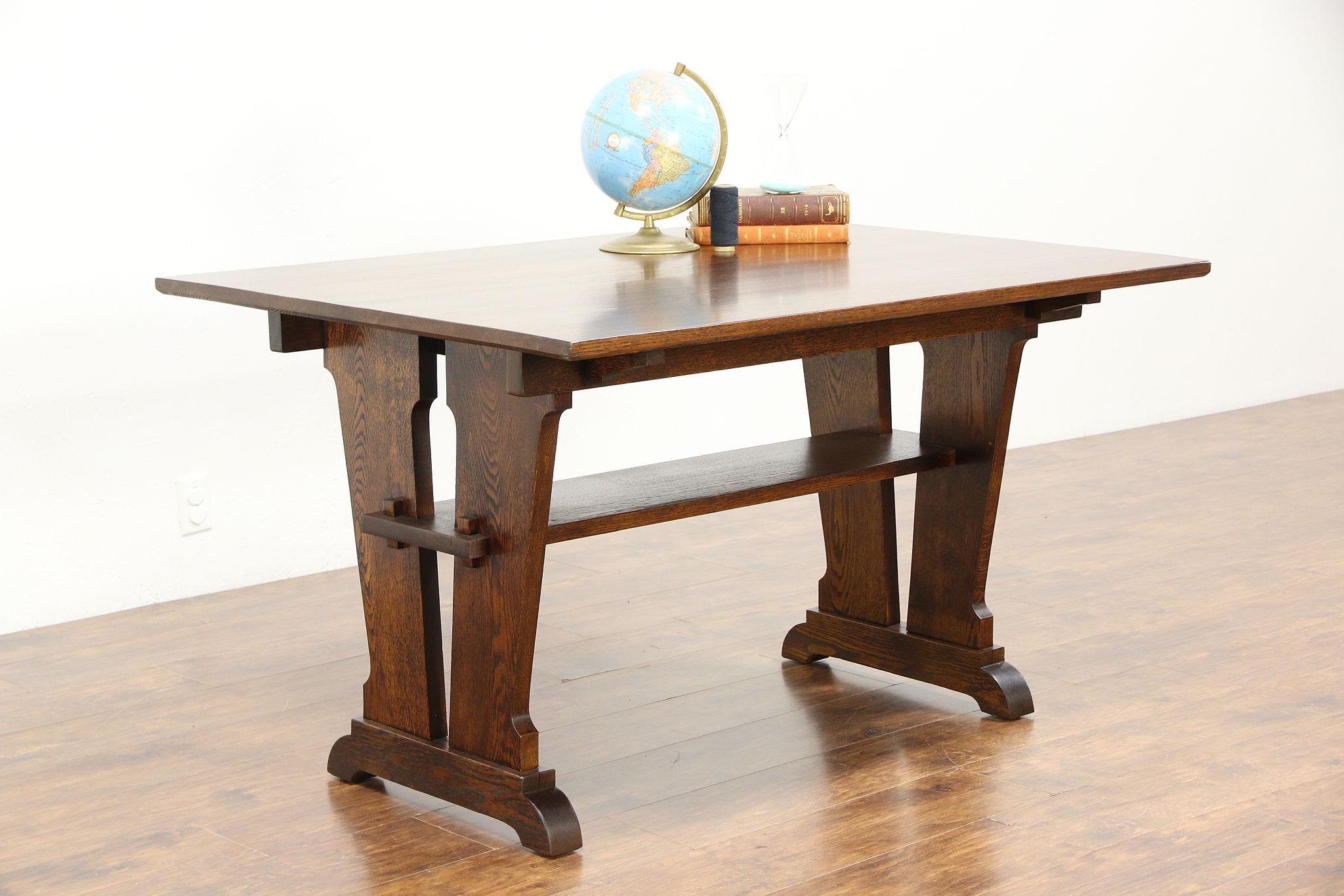 Gentil Arts U0026 Crafts Mission Oak Library, Breakfast Or Dining Antique Craftsman  Table
